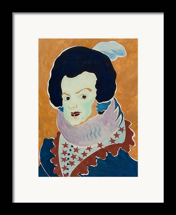 Queen Framed Print featuring the painting Queen Isabel. Standing. 1631-1632. After Diego Velazquez. by Vitali Komarov