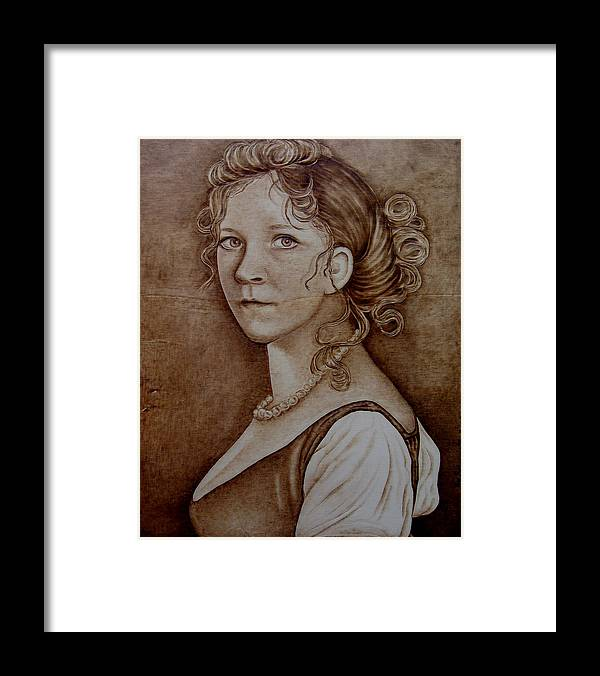 Pyrography Framed Print featuring the pyrography Queen Of Prussia by Jo Schwartz