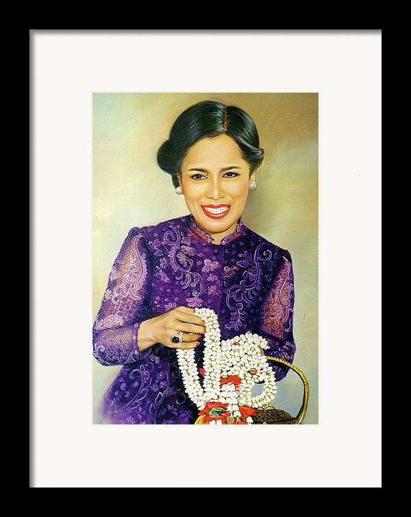 Oil Framed Print featuring the painting Queen Sirikit2 by Chonkhet Phanwichien