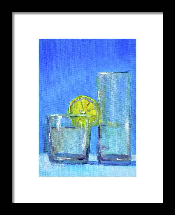 Beverage Glasses Oil Painting Framed Print featuring the painting Quench by Nancy Merkle