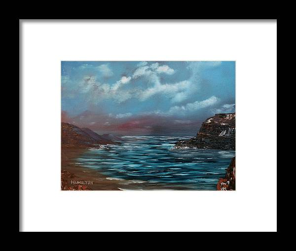 Oil Framed Print featuring the painting Quiet Bay by Larry Hamilton