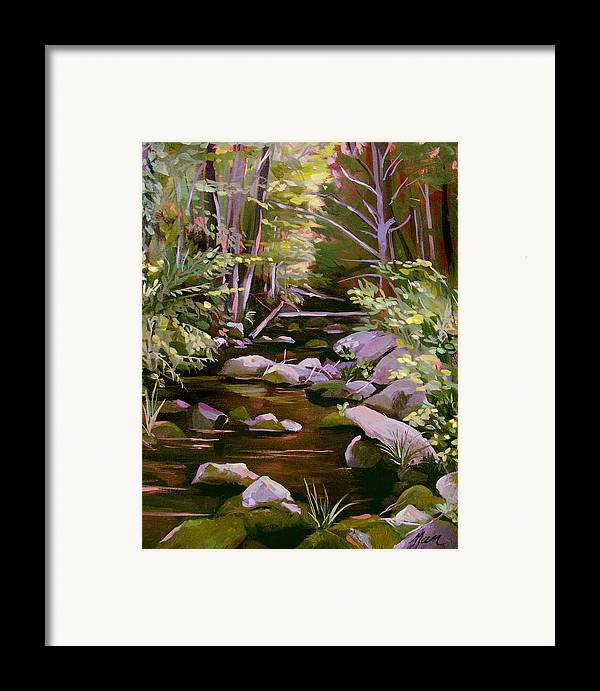 Peoples State Forest Framed Print featuring the painting Quiet Brook by Nancy Griswold