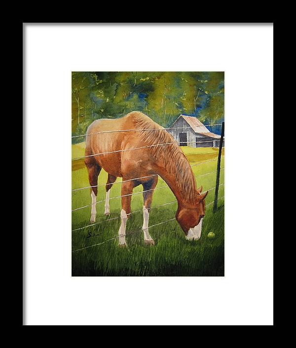 Horse Framed Print featuring the painting Quiet Comfort by Shirley Braithwaite Hunt