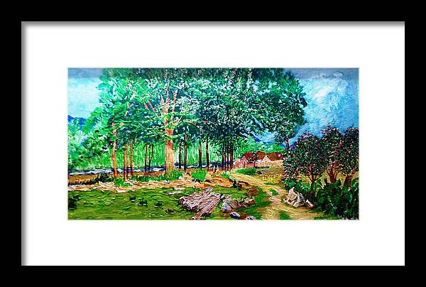 Tree Framed Print featuring the painting Quiet Countryside by Narayan Iyer