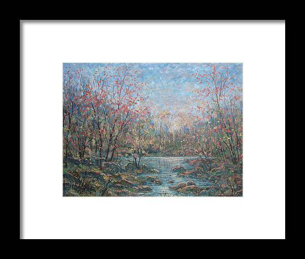 Landscape Framed Print featuring the painting Quiet Evening. by Leonard Holland