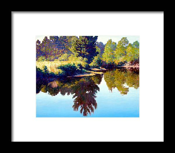 River Framed Print featuring the painting Quiet Pond by Kevin Lawrence Leveque