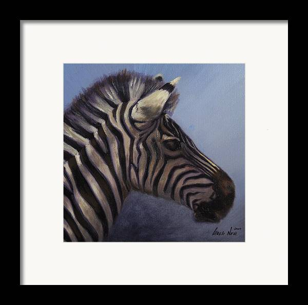 Zebra Framed Print featuring the painting Quiet Profile by Greg Neal