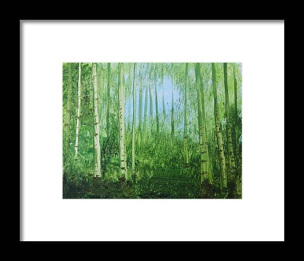 Woods Framed Print featuring the painting Quiet Stroll by Trilby Cole