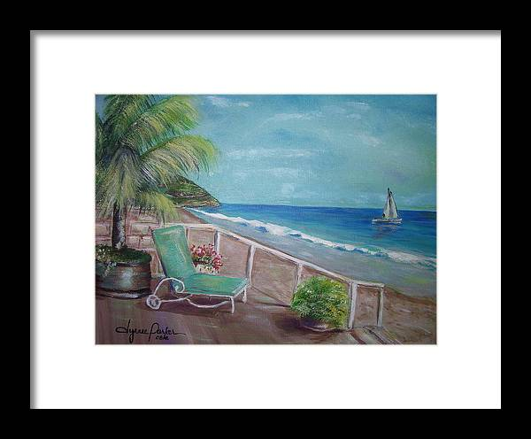 Landscape Framed Print featuring the painting Quiet Time In Malibu by Dyanne Parker