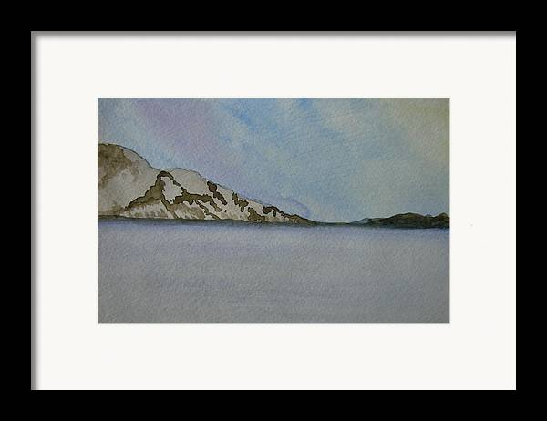 Ocean Framed Print featuring the painting Quietude by Liz Vernand