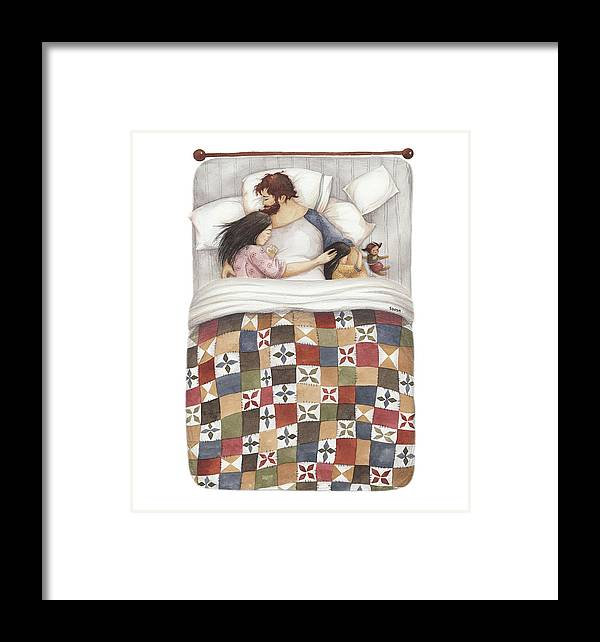 Soosh Framed Print featuring the painting Quilt Cuddles by Soosh