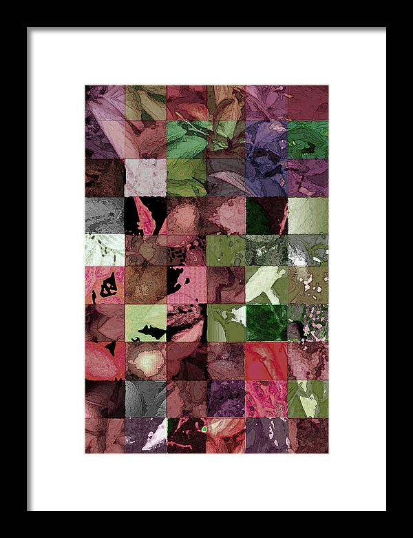 Abstract Framed Print featuring the digital art Quilt by Tom Romeo
