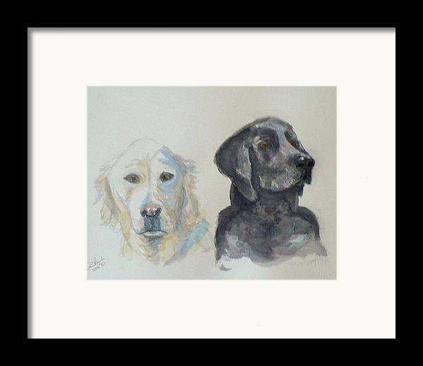 2 Dogs Framed Print featuring the painting Quincy And Bodie by Dan Bozich