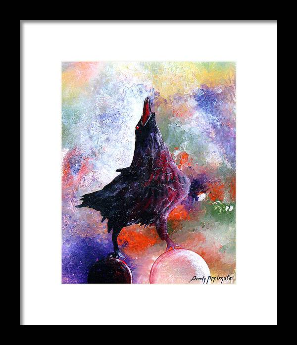 Raven Framed Print featuring the painting Quothe The Raven by Sandy Applegate