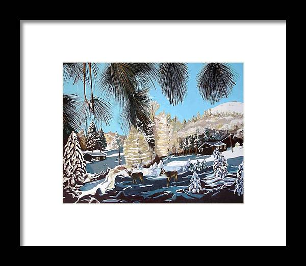 Landscape Framed Print featuring the painting R-ranch In The Winter by Olga Kaczmar