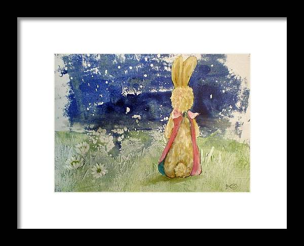 Rabit Field Flowers Framed Print featuring the painting Rabbit by Gerda Smit