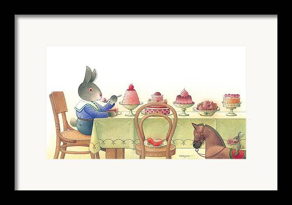 Rabbit Birthday Delicious Framed Print featuring the painting Rabbit Marcus The Great 10 by Kestutis Kasparavicius