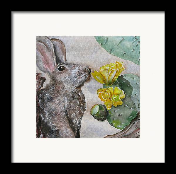 Framed Print featuring the painting Rabbit With Flower by Kathy Mitchell