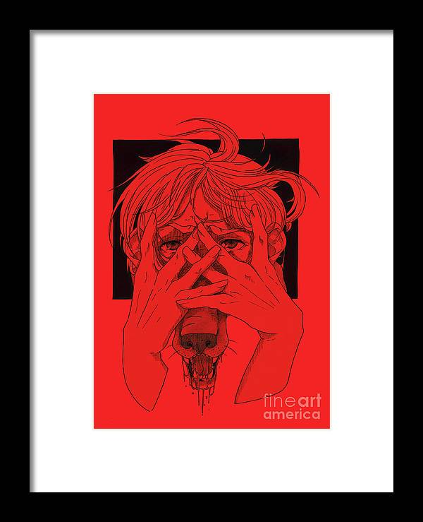 Red Framed Print featuring the digital art Rabid Breathing Red Variant by Jeremy Jaymes LaBelle