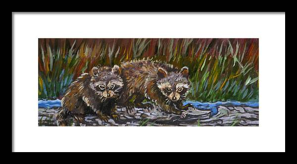 Animal Framed Print featuring the painting Raccoons From River Mural by Dawn Senior-Trask