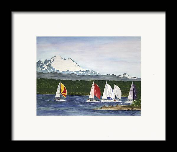 Sailboats Framed Print featuring the painting Race Week On Whidbey Island by Mary Gaines