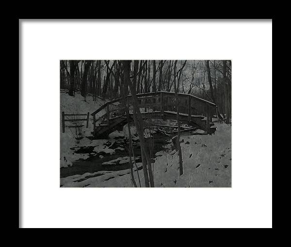 Winter Framed Print featuring the photograph Rachel Carson Trail Bridge by Shelley Smith