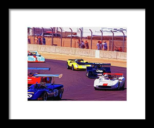 Racing At Laguna Seca Framed Print featuring the painting Racing At Laguna Seca by Dominic Piperata