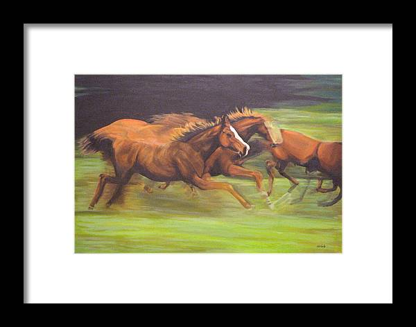 Horse Framed Print featuring the painting Racing Horses by Srilata Ranganathan