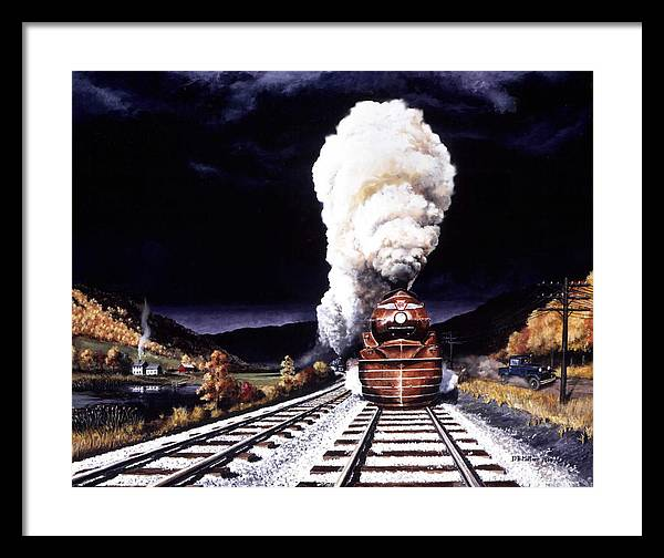 Train Framed Print featuring the painting Racing the Storm by David Mittner