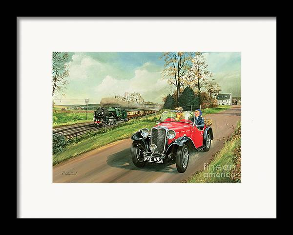 Car Framed Print featuring the painting Racing The Train by Richard Wheatland