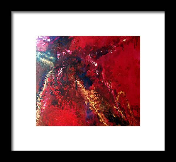 Red Framed Print featuring the painting Racquel by Jess Thorsen