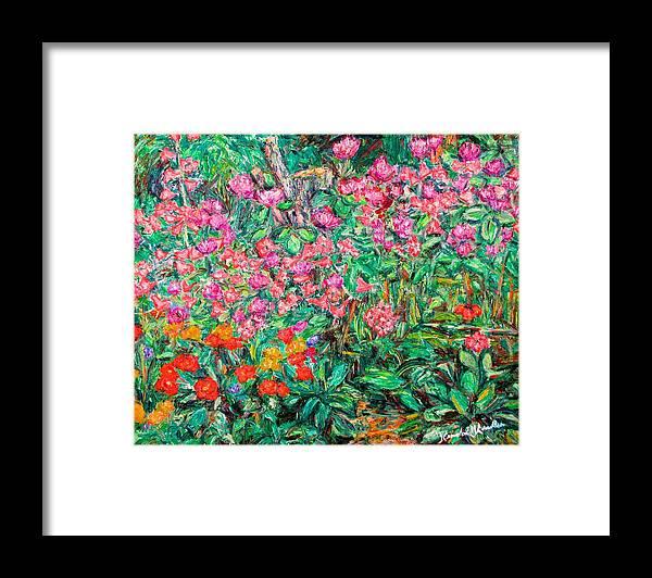 Kendall Kessler Framed Print featuring the painting Radford Flower Garden by Kendall Kessler