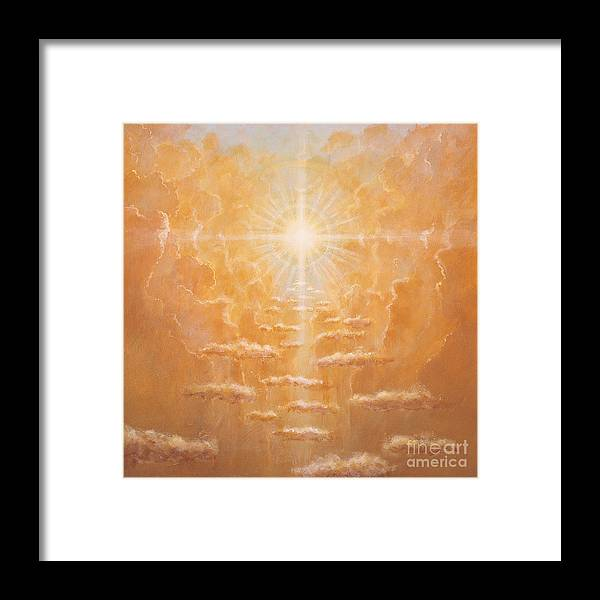 Sun; Sunlight; Rays; Cloud; Clouds; Sky; Bright; Sun Rays; Radiating;spirit; Spiritual; God; Cross; Light; Hope; God Framed Print featuring the painting Radiance by Simon Cook