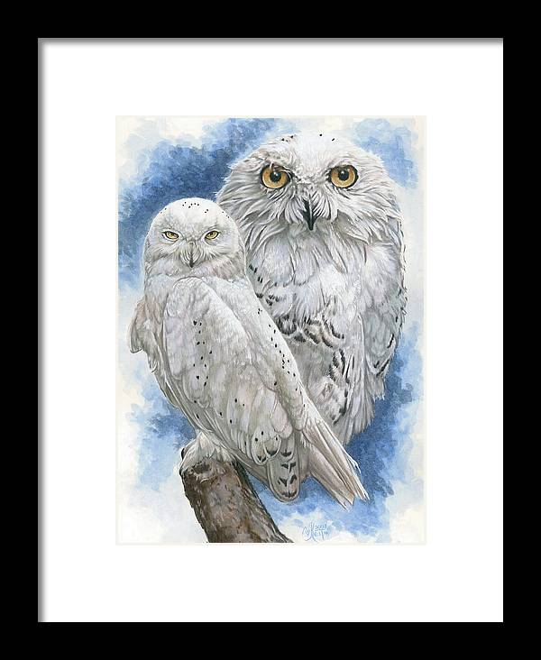 Snowy Owl Framed Print featuring the mixed media Radiant by Barbara Keith
