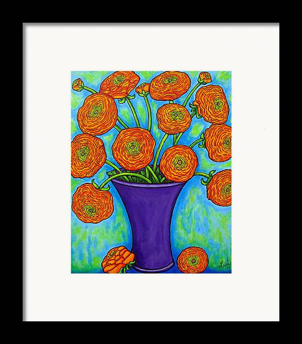 Green Framed Print featuring the painting Radiant Ranunculus by Lisa Lorenz