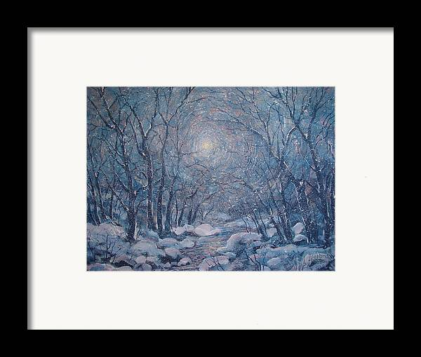 Snow Landscape Framed Print featuring the painting Radiant Snow Scene by Leonard Holland