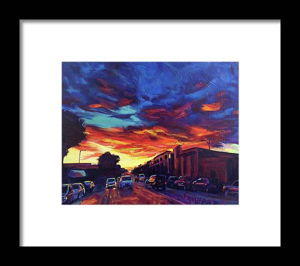 Sundown Framed Print featuring the painting Radiate by Bonnie Lambert