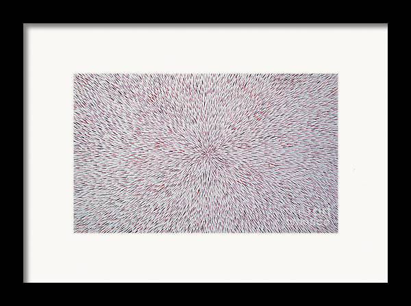 Abstract Framed Print featuring the painting Radiation With Black And Red by Dean Triolo
