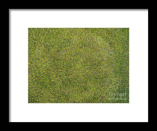 Abstract Framed Print featuring the painting Radiation With Green With Yellow by Dean Triolo