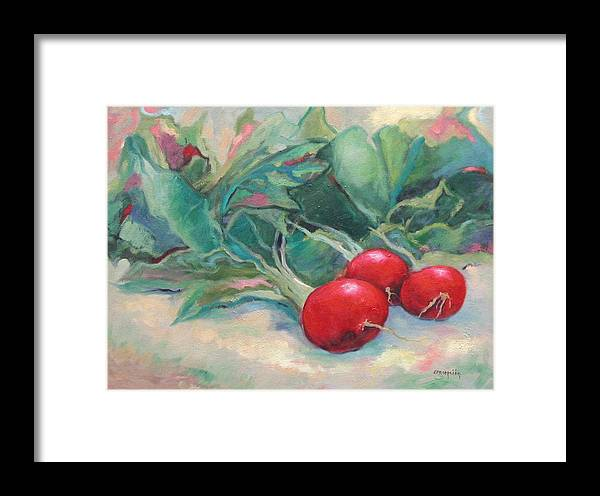 Radishes Framed Print featuring the painting Radishes by Ginger Concepcion