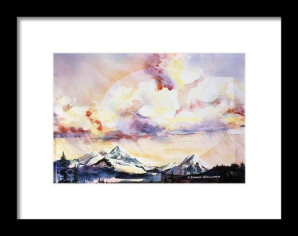 Ragged Mountains Framed Print featuring the painting Ragged Mountains Sunset by Connie Williams