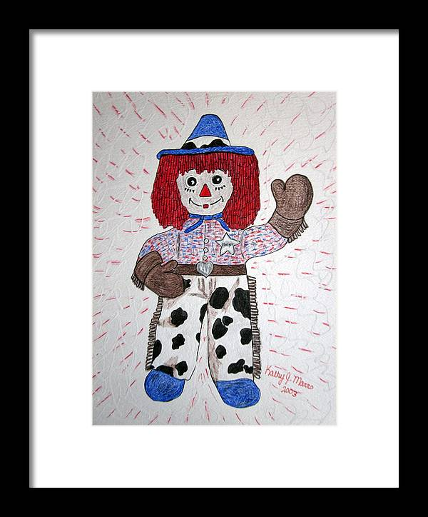 Raggedy Andy Framed Print featuring the painting Raggedy Andy Cowboy by Kathy Marrs Chandler