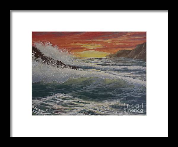 Khamis Framed Print featuring the painting Raging Surf by Dj Khamis