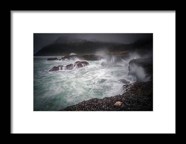 America Framed Print featuring the photograph Raging Waves On The Oregon Coast by William Freebilly photography