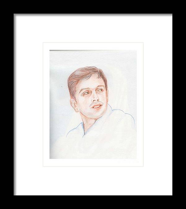 Cricketer Framed Print featuring the drawing Rahul Dravid Indian Cricketer by Asha Sudhaker Shenoy