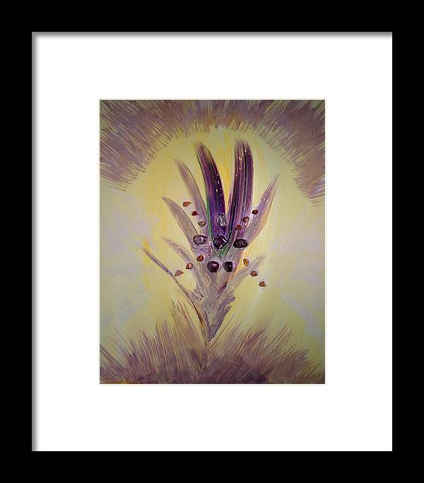Abstract Framed Print featuring the mixed media Rai An An by Emerald GreenForest