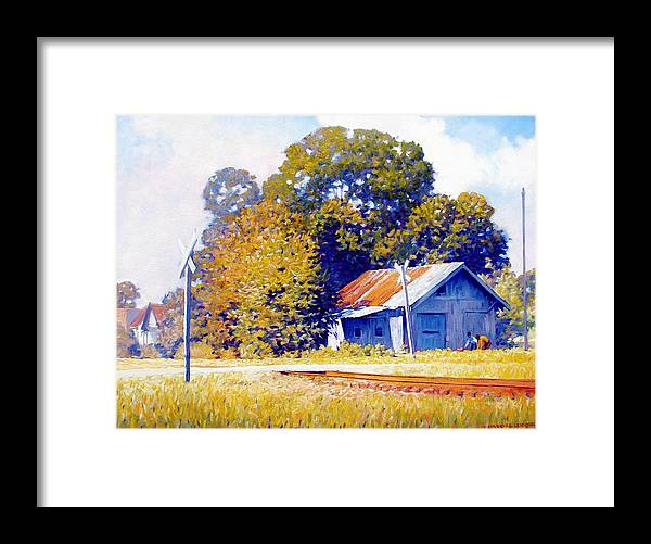 Railroad Track Framed Print featuring the painting Railroad Crossing by Kevin Lawrence Leveque