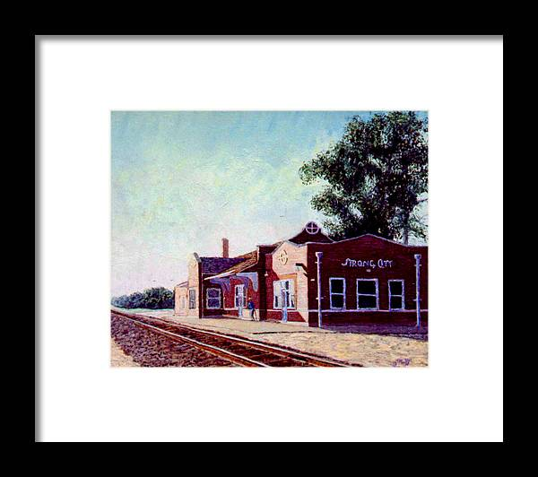 Original Oil On Wood Panel Framed Print featuring the painting Railroad Station by Stan Hamilton
