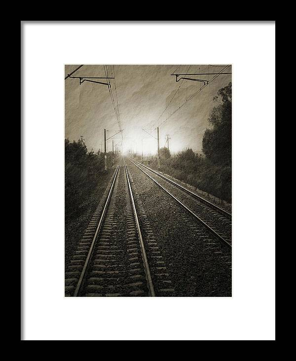 Train Framed Print featuring the photograph Rails by Angela Wright