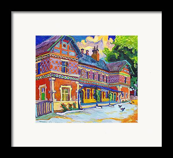 Lednice Framed Print featuring the painting Railway Station In Lednice by Vitali Komarov